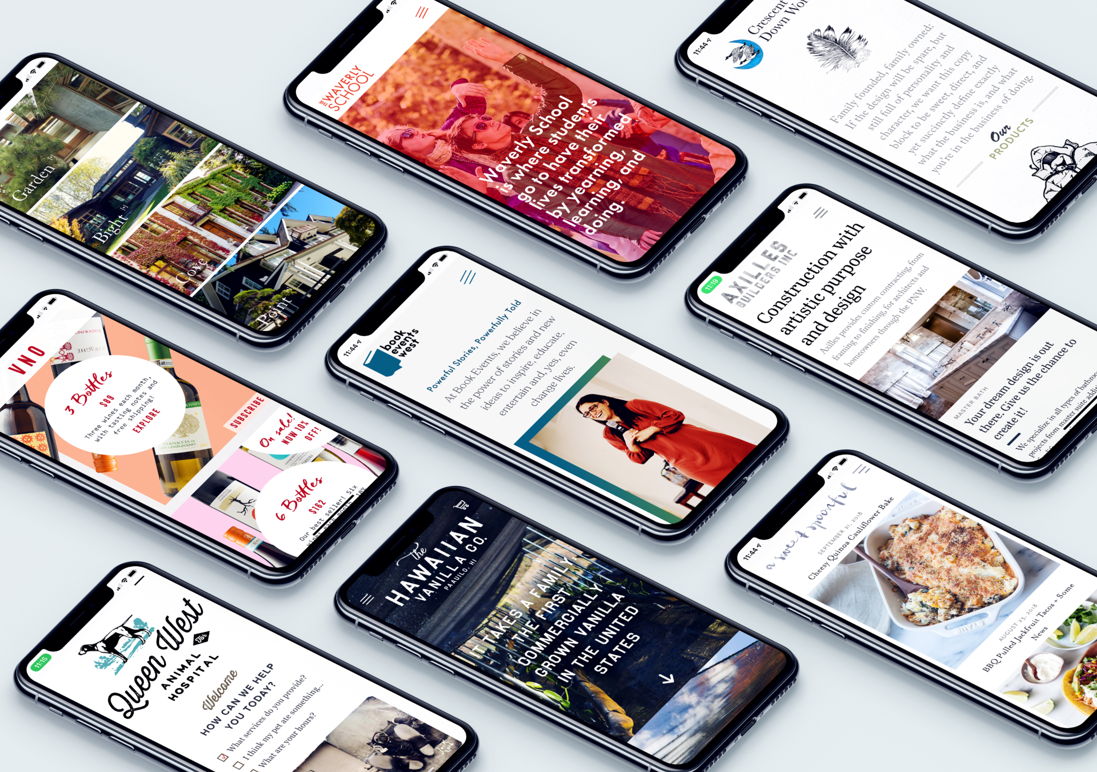 Many website designs displayed on iPhones